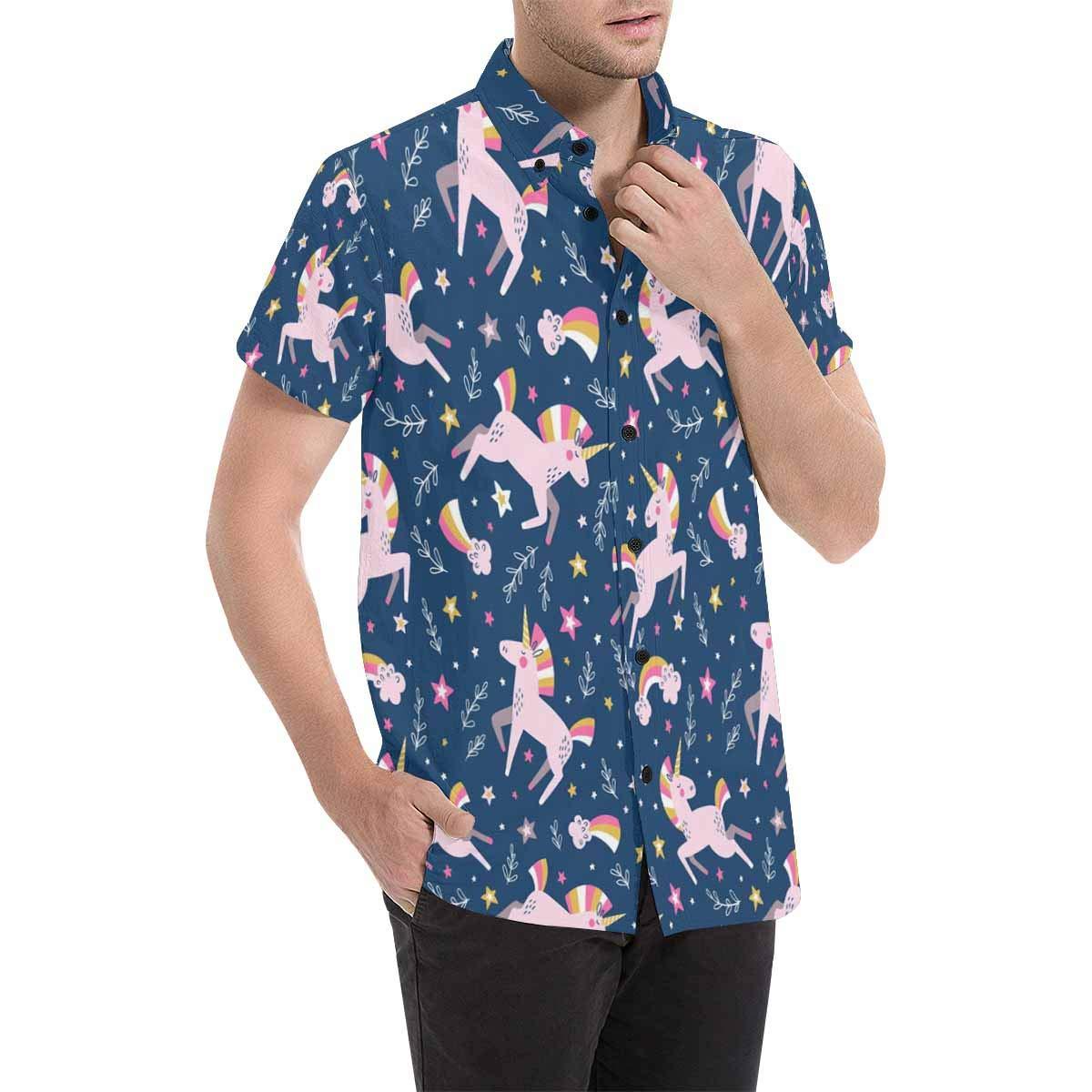 InterestPrint Mens Botton Up Floral Cute Unicorns Stars Short Sleeve Shirts