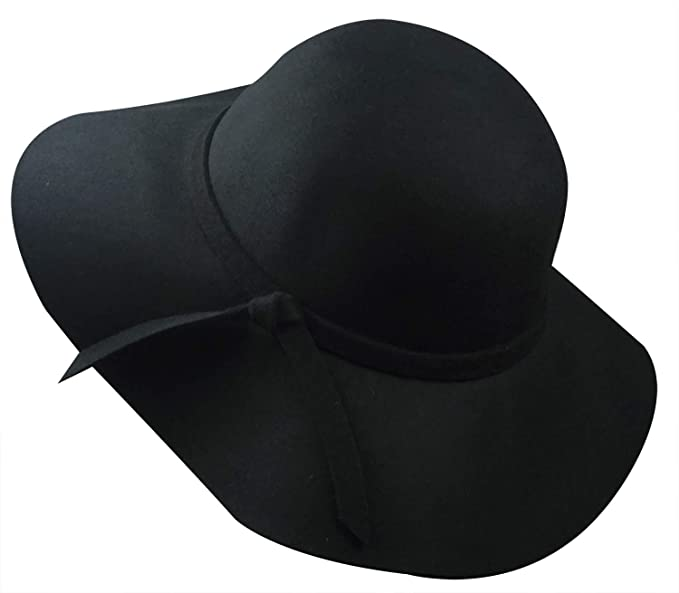bdc21f0f Lovful Women 100% Wool Wide Brim Cloche Fedora Floppy hat Cap, Black ...