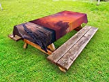 Lunarable Balinese Outdoor Tablecloth, Calm Ocean Shoreline on Tropical Sunrise. Bali Indonesia Wavy Sunbeams Scenic, Decorative Washable Picnic Table Cloth, 58 X 120 Inches, Pink Orange Tan