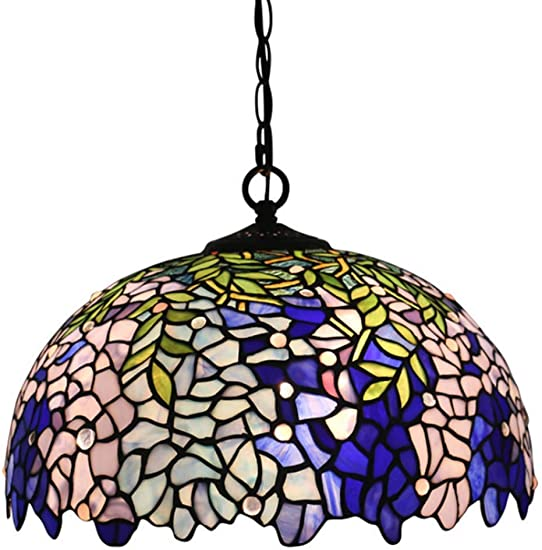 Vintage Tiffany Style Hanging Lamp 16 Inch Retro Stained Glass Dining Room Pendant Light Fixture for Kitchen Restaurant Corridor Pendant Lamp,110V-220V,E27,A