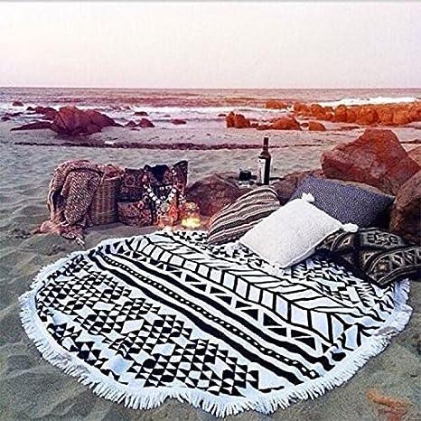 GreForest toalla de playa redonda con borla blanco y negro algodón toallas de playa círculo: Amazon.es: Hogar