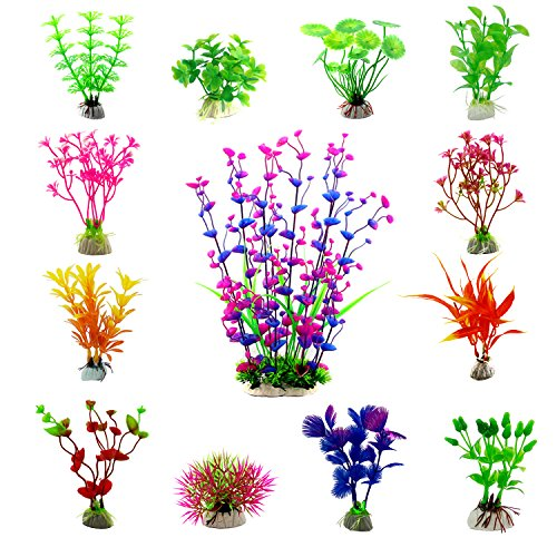 CEWOR 13pcs Artificial Aquarium Plants Plastic Water Plant Fish Tank Decorations (13 Different Styles) by CEWOR