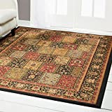 Home Dynamix Royalty Bella Area Rug | Traditional Living Room Rug | Classic Boarders and Rectangular Design | Persian-Inspired Design | Black, Neutral 7'8