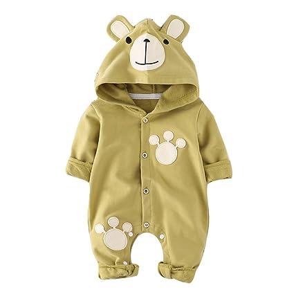 Bebé Niños Niñas Mameluco - Otoño Invierno Recién Nacido Traje Manga Larga Ropa Pijamas con Capucha