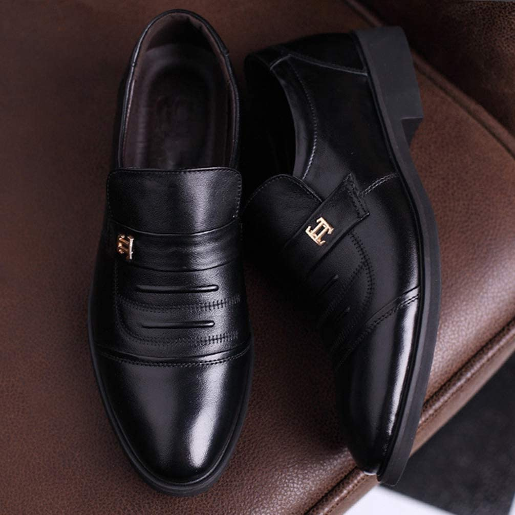 Mens Oxford Shoes Pointed Toe Lace Up Breathable Business Casual Dress Shoes