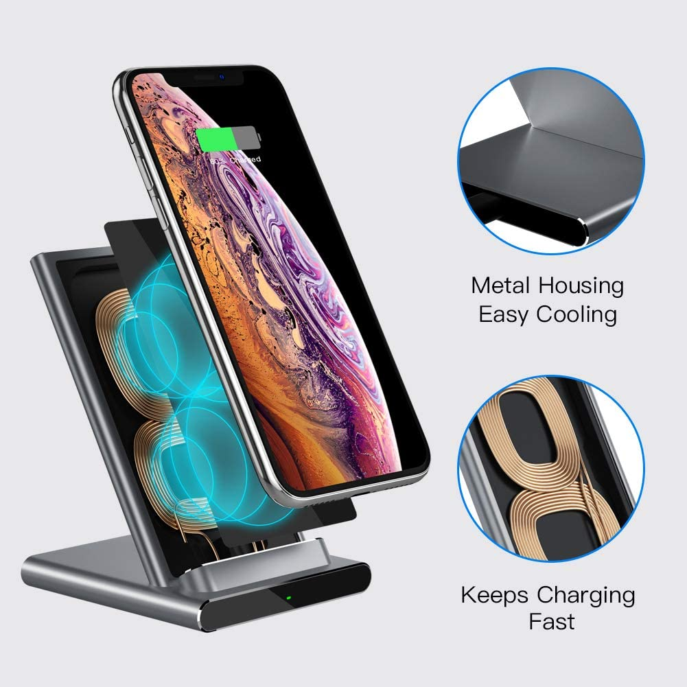 ESR Wireless Charger Pixel 3//4 10W Fast Charging for Galaxy S20//S20 Ultra//Note10 No AC Adapter Black 7.5W for iPhone SE//11//11 Pro//11 Pro Max Metal Frame Ultra-Thin Fast Charging Pad Upgraded