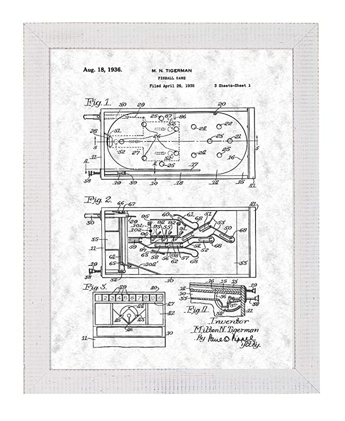 Amazon Com Pinball Game Patent Art Old Look Print In A Distressed