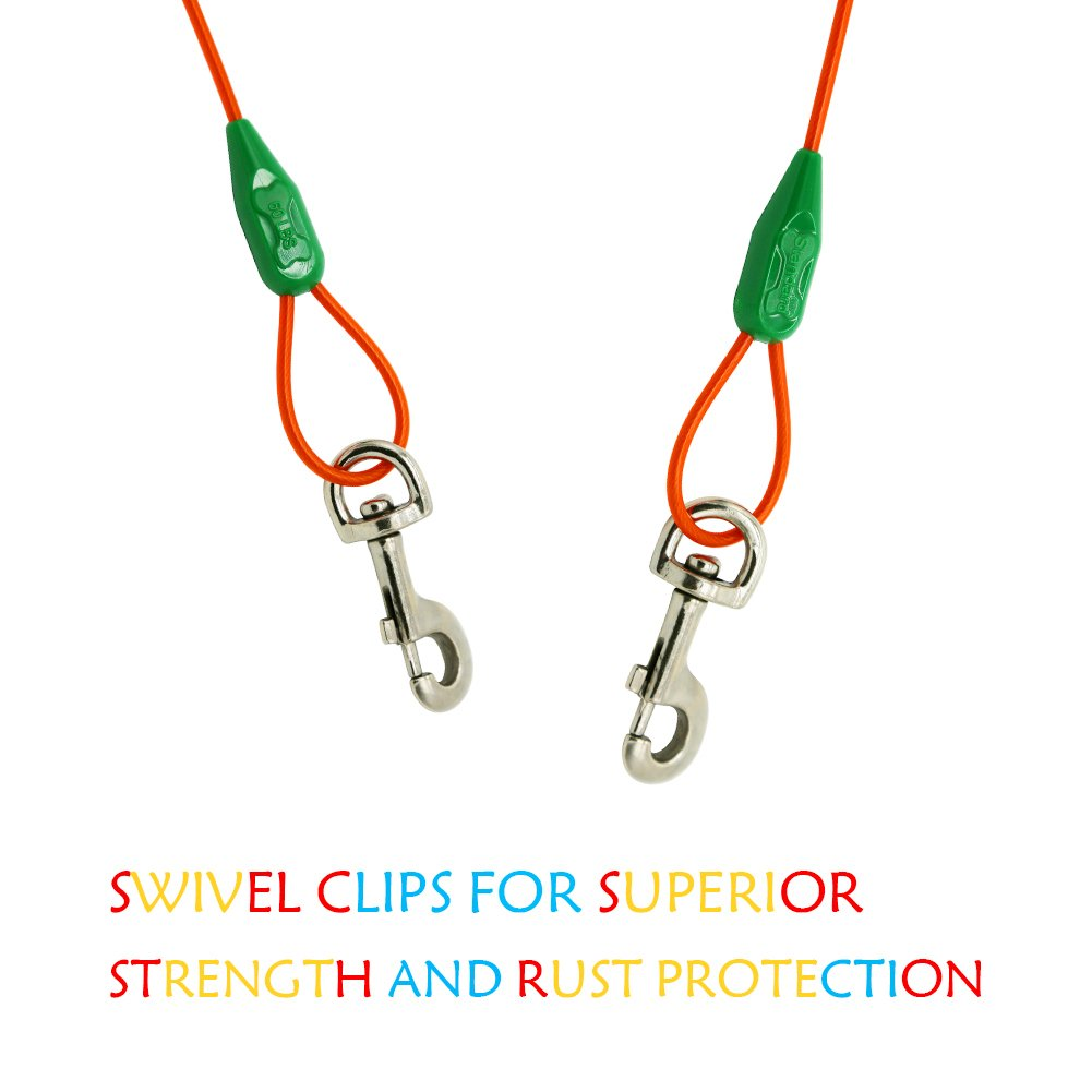 10ft 15ft 20ft 25ft 30ft 40ft Length Available Petest Tie-Out Cable with Crimp Cover for Dogs Up tp 10//35//60//90//125//250 Pounds
