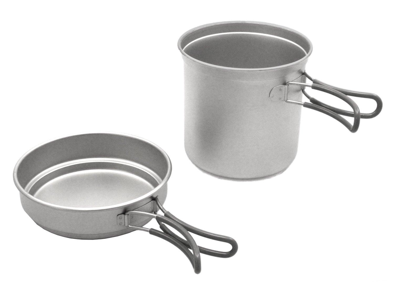 Fibega Ultraleicht Titan Kochset, zweiteilig, für 1-2 Personen (185g / 15cm hoch / 13cm breit)