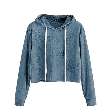 6e4bd3a8c04947 Styledress Sweatshirt Damen,Damen Langarmshirt Samt Hoodie Sweatshirt  Sweatjacke Langarm Pullover Hosenanzug T-Shirt