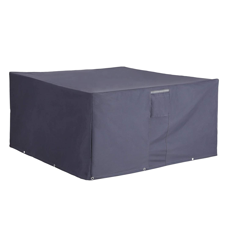 Rectangular para Mesas y Sillas de Patio SONGMICS 600D Oxford Funda Protectora para Muebles de jard/ín Gris GFC125GY Impermeable 125 x 125 x 71 cm Cubierta Protectora Exterior