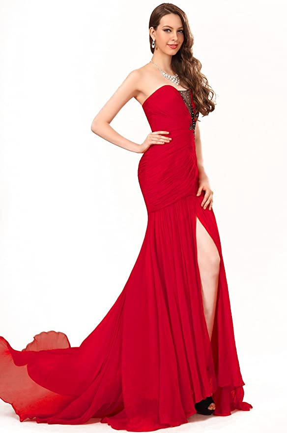 17108bc93185a eDressit Sale Strapless High Split Red Evening Dress Prom Ball Gown at  Amazon Women's Clothing store: