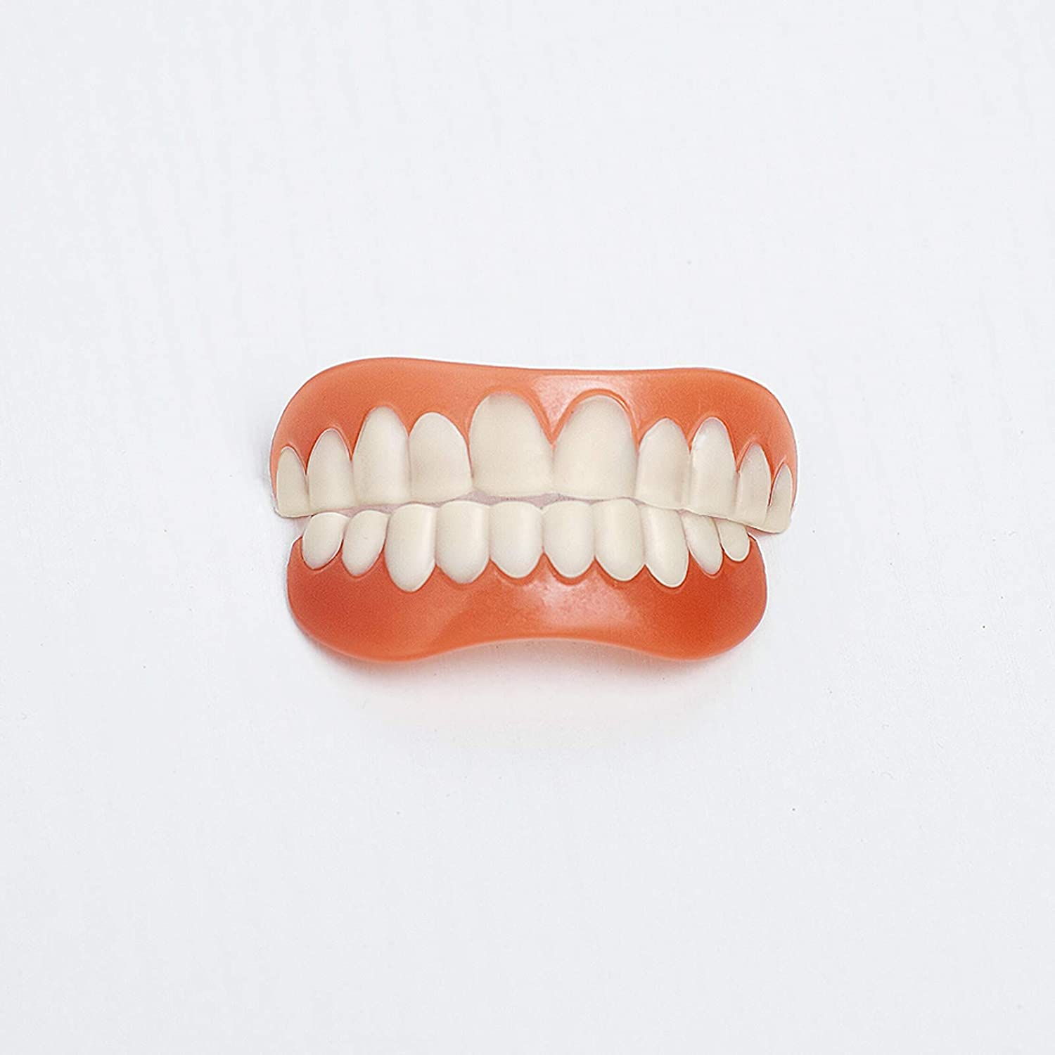 2 Pcs Quick Dentures Teeth Perfect Smile Cosmetic Teeth For Lower and Upper jaw Denture Smile Veneer, Natural Shade Comfort Fit Flex Veneers, Quickly Make You Own Perfect Smile (1 set 2PCS)