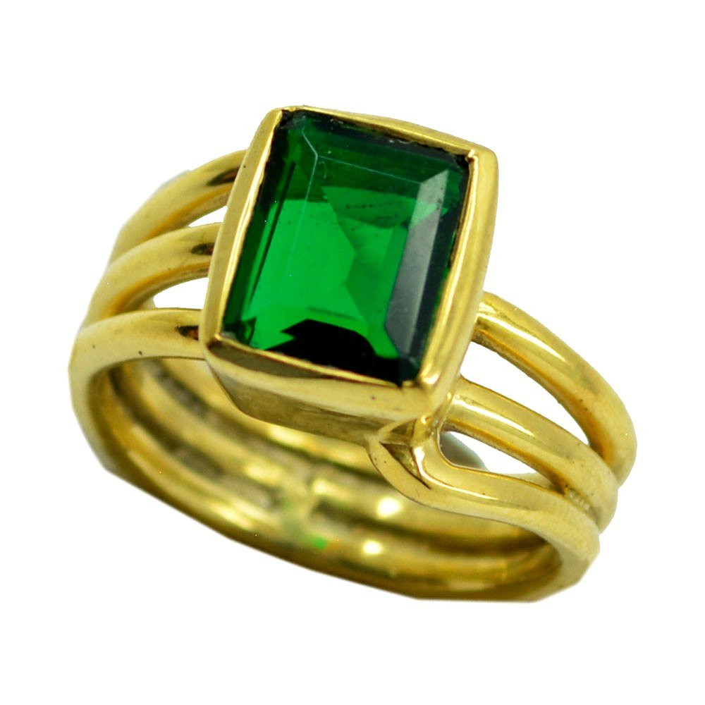 Emerald CZ Gold Plated Ring For Women May Birthstone Rectangle Shape Astrological Size 5,6,7,8,9,10,11,12