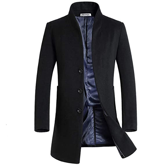44b99079e1ba57 Cloudstyle Mens Wool Cashmere Coat Jacket Outerwear Trench Overcoat Warm  Winter