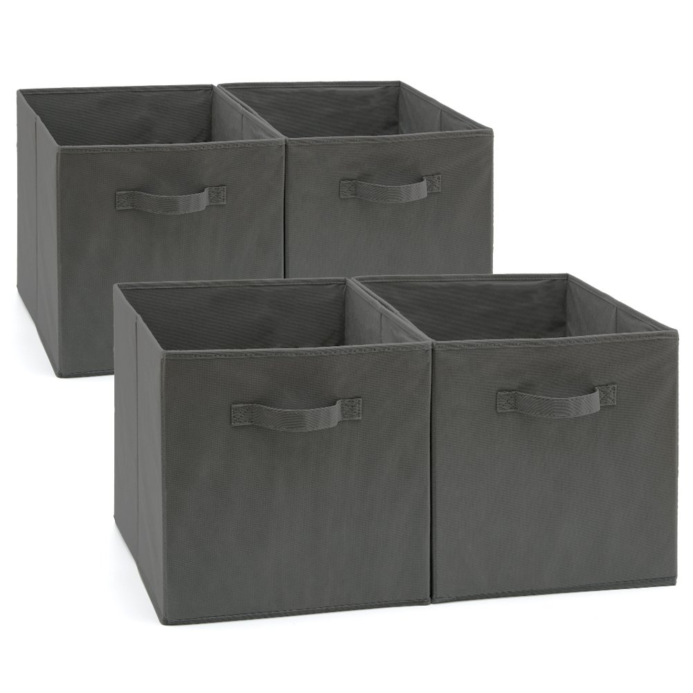 EZOWare Set of 4 Foldable Fabric Basket Bins, Collapsible Storage Cube for Nursery Home and Office (Gray) 13x15x13 inch