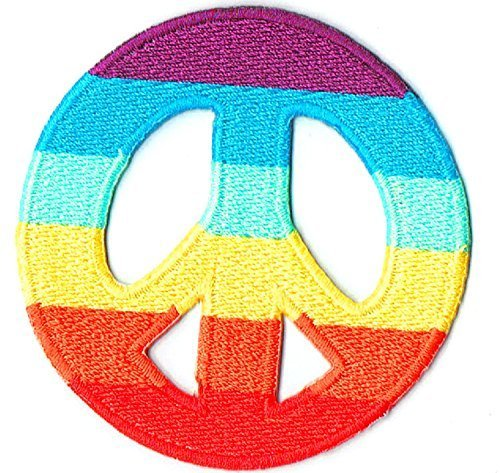 Rainbow Peace Sign War Fancy Appliques Hat Cap Polo Backpack Clothing Jacket Shirt DIY Embroidered Iron On / Sew On -