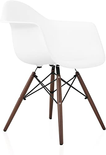 CozyBlock DAW Scandinavian White Molded Plastic Dining Arm Chair