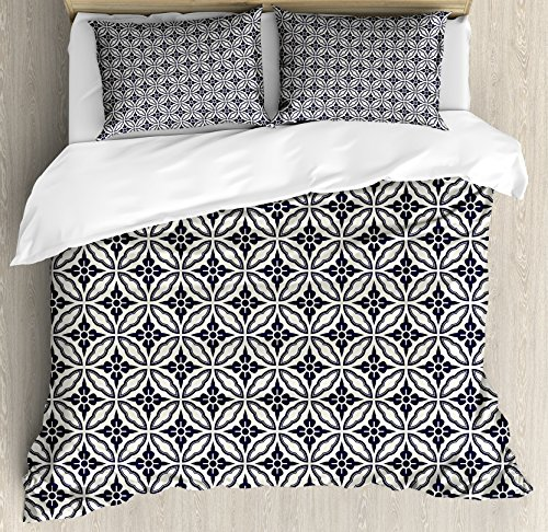 Ambesonne Geometric Duvet Cover Set Queen Size, Symmetrical Circular Pattern Floral Elements Japanese Mandala Flower Foliage, Decorative 3 Piece Bedding Set with 2 Pillow Shams, Dark Blue Cream -