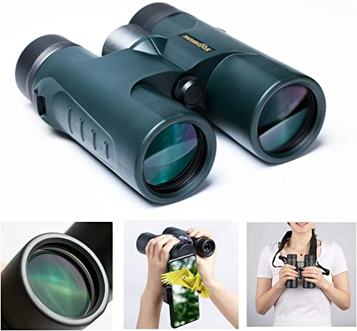 HD 10×42 Roof Prism Binoculars Waterproof for Adults Bird Watching, Large Ocular and Object Lens, Clarity Brightness and Wide Field of View-Lightweight and Compact with HD Green Films Fully MultiCoat