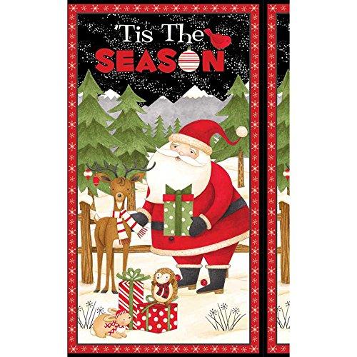 Print Mum (Wilmington Prints Debbie Mum Santa And Friends Door 24in Panel Multi Fabric, Gold/Red/Black)
