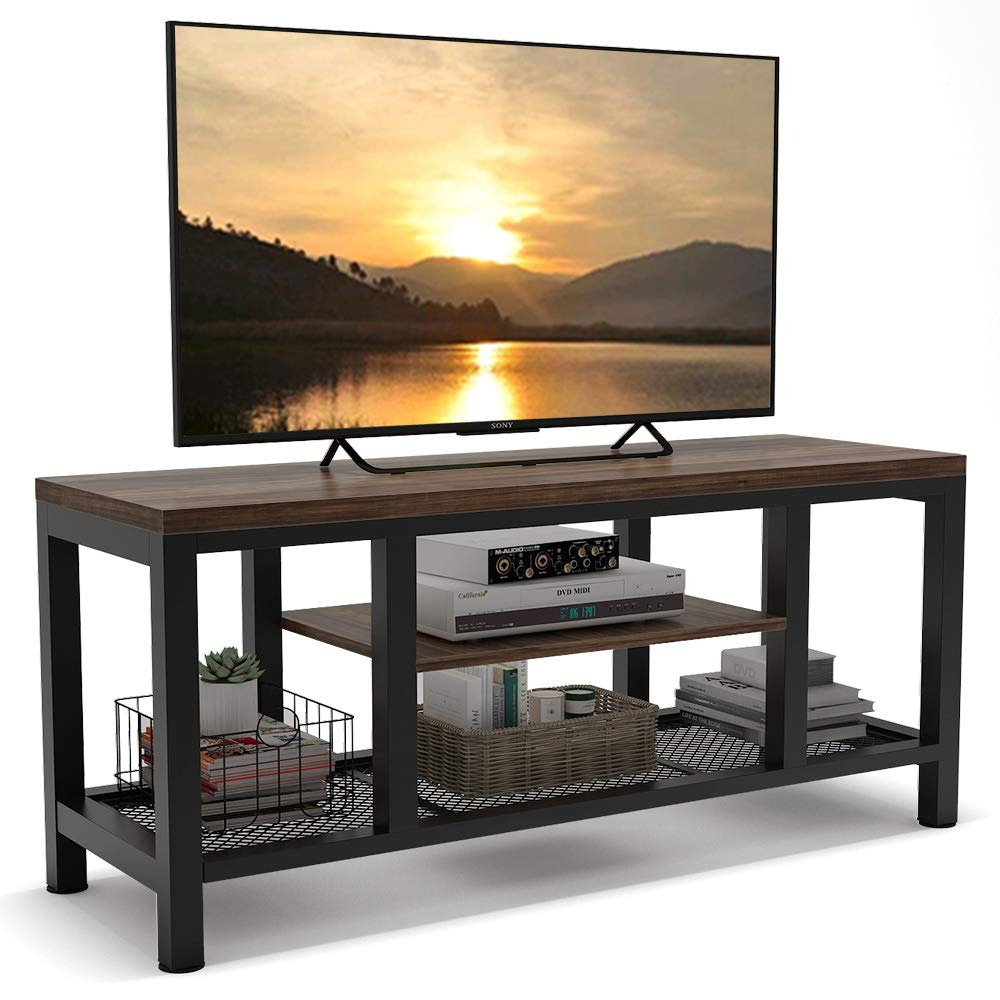 Tribesigns TV Stand, Industrial Rustic Media Stand for 60 Inches TV, Large 3-Tier Entertainment Center with Metal Mesh Shelf, Media Console Table for Living Room
