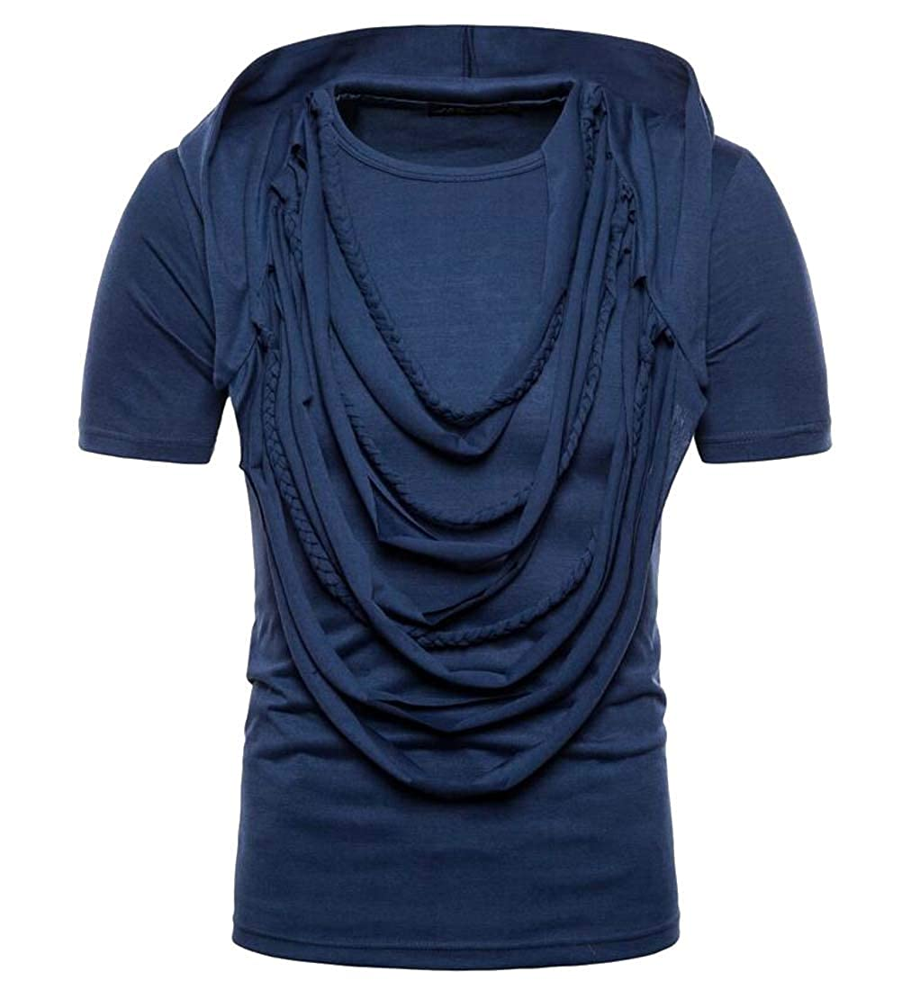 Cromoncent Mens Casual Short Sleeve Cowl Neck Hooded Tops Tees T-Shirts