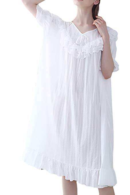 Vintage Inspired Nightgowns, Robes, Pajamas, Baby Dolls Asherbaby Womens Long Victorian Nightgown Lace V Neck Princess Sleepwear Dress $25.99 AT vintagedancer.com