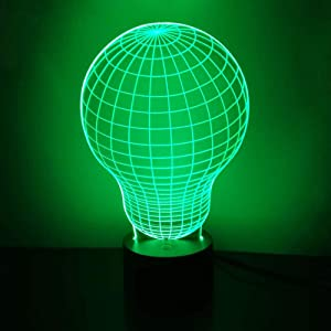 Bulb 3D Night Light LED Illusion Lamp Bedside Desk Table Lamp, Loveboat 7 Color Changing Lights with Acrylic Flat & ABS Base & USB Charger as Home Decor and A Best Gift