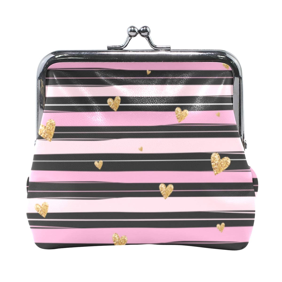 4cba42cffde6 Amazon.com: Wallet Gold Glittering Heart Pink Black Stripe Coin ...