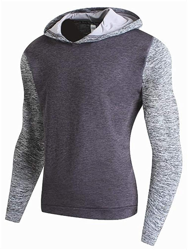 JuJuTa Mens Athletic Contrast Color Gym Fleece Pullover Hooded Sweatshirts
