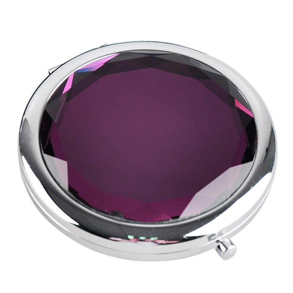 Naisicantar Cristal Rond de voyage pliable Miroir double side Mini miroir de maquillage de poche en métal avec un côté Miroir grossissant pour femme Violet