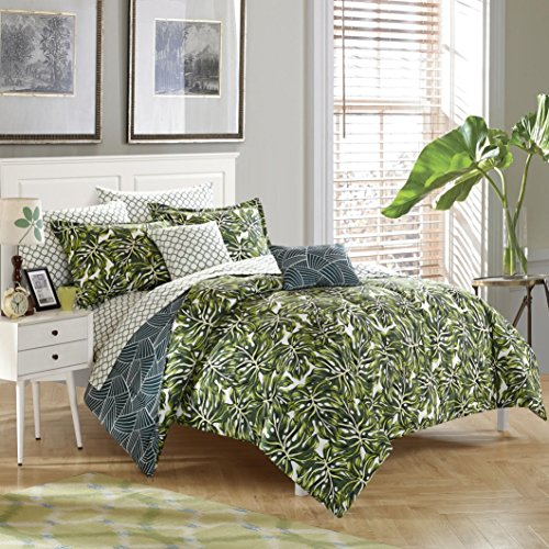 stylehouse WK681524 Palm Leaf Bed in A Bag Comforter Set & Bonus Dec Pillows,Palm Leaf,King