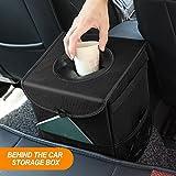 BlueFire Waterproof Car Trash Can Collapsible Car Trash Bag Car Garbage Bag with Lid, Storage Pockets and Adjustable Strap Fits to Headrest or Door Handle(Black)