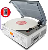 Boytone BT-37WT-C White Color Limited Edition 3-Speed Stereo Turntable, 2 Built-In Speakers, LCD Display, AM/FM Radio, USB/SD/AUX+ Cassette/MP3 & WMA Playback/Recorder/ Headphone Jack , Remote control