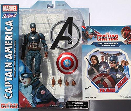 Diamond Select Toys Marvel Select: Captain America: Civil War: Captain America Action Figure Bundle includes Team Cap Vinyl Window Decal Sticker