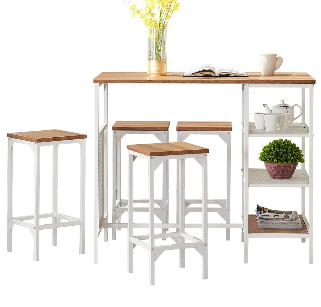 O&K FURNITURE 5-Piece Dining Room Bar Table Set, Modern Industrial Bistro Restaurant Dining Table and Stool Set, Home Kitchen Furniture, Oak Finish by O&K FURNITURE