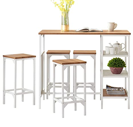 img buy O&K FURNITURE 5-Piece Dining Room Bar Table Set, Modern Industrial Bistro Restaurant Dining Table and Stool Set, Home Kitchen Furniture, Oak Finish