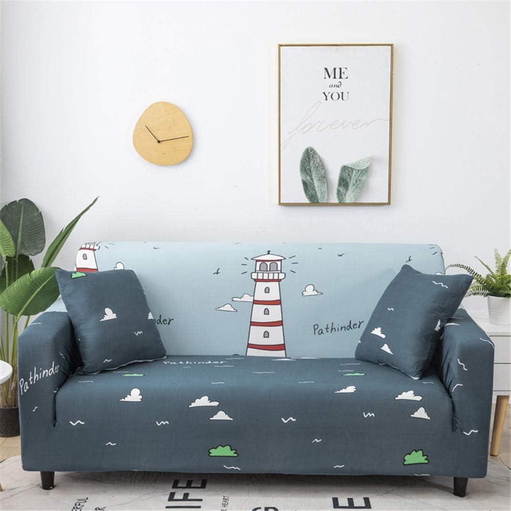 ZLLBF Fundas Sofa Elasticas Chaise Longue,Extraíbles Y Lavables,Moderno Cubre Sofa Chaise Longue Universal Fundas Protectora para Sofa contra Polvo En Forma De L 1 Piezas(Faro del Océano,4Plazas)