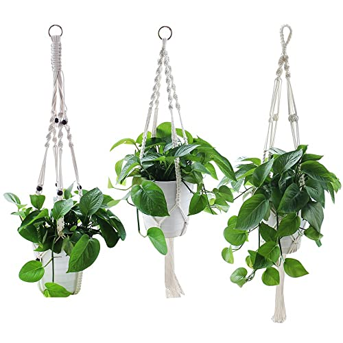 Yotako Rope Hanging Planter, 3 Pattern Indoor Macrame Plant Hanger, Large U0026  Small Wall