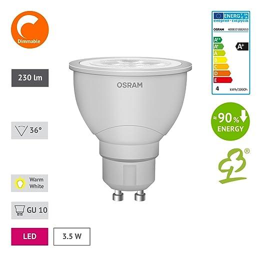 OSRAM LED Reflektor PAR1635 3,6W (35W-Ersatz) warmweiß GU10 dimmbar ...