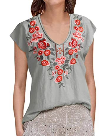 cd44bbb5f9e47 Sttech1 Women Vintage Short Flare Sleeve T-Shirt Floral Embroidery Blouse V  Neck Shirt Tops