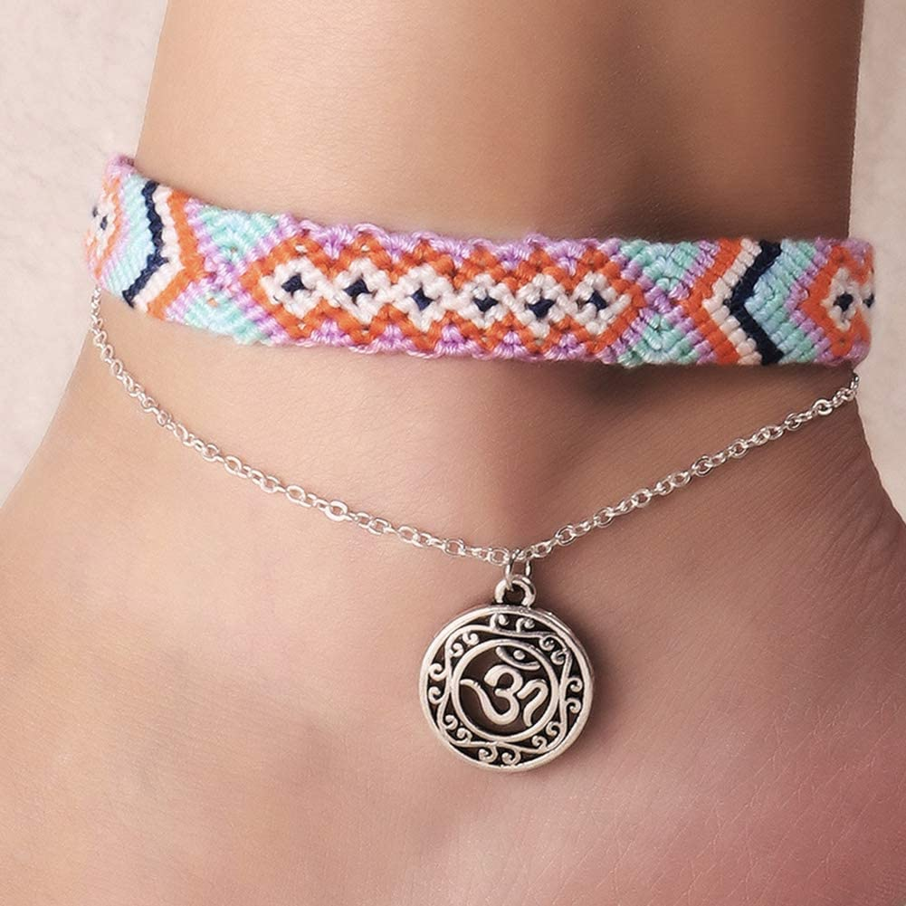 Softmusic Handmade Women Bohemian Style Ankle Bracelet,Round Sea Wave Weave Beach Foot Jewelry Yoga Anklet A