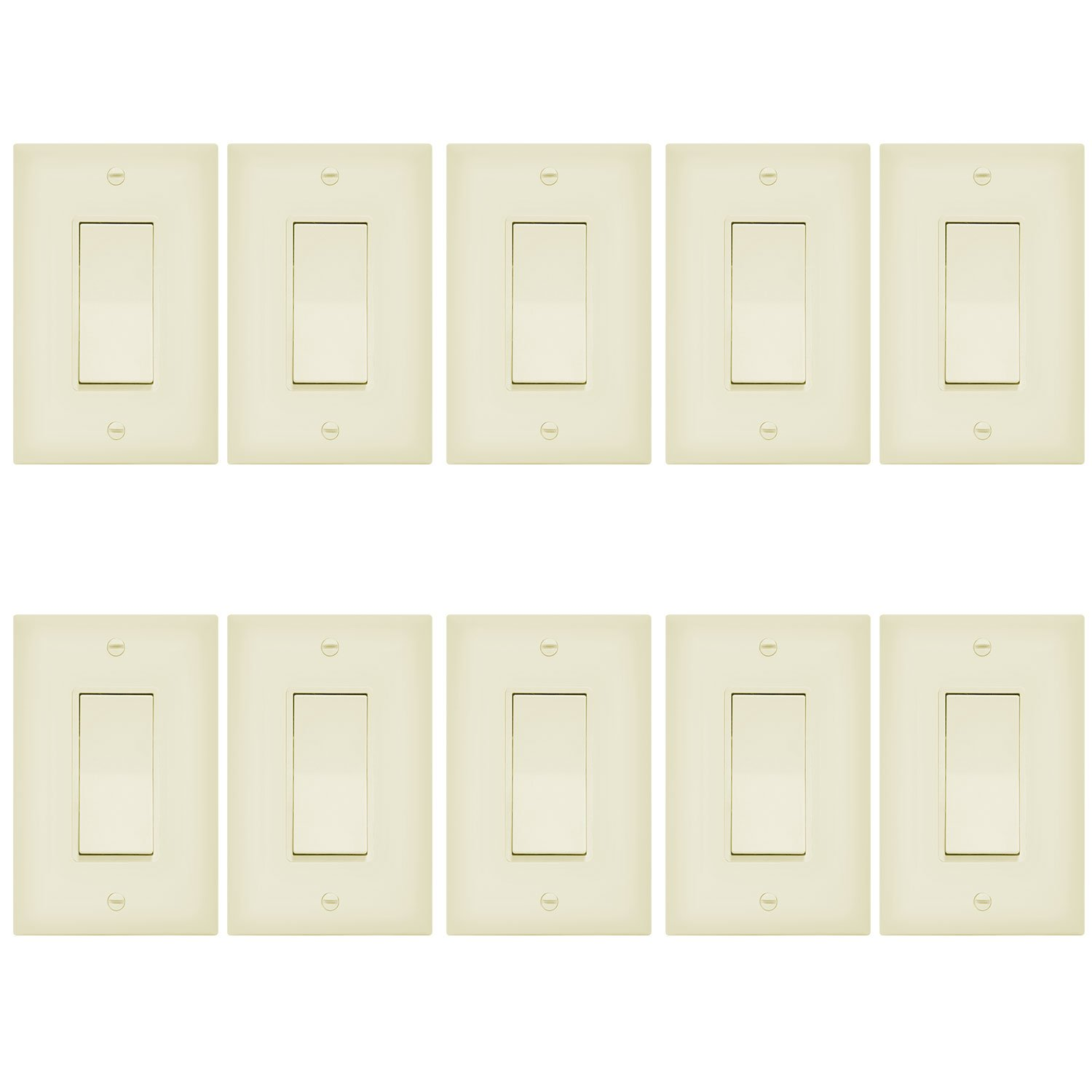 Enerlites 3-Way On/Off Paddle Light Switch with Covers 93150- | 15A, 120V/277VAC, Rocker, Single Pole, 3 Wire, Grounding Screw, Residential and Commercial Wall Switch, UL Listed | Ivory - 10 Pack