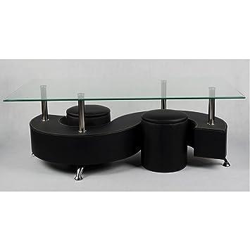 Table Basse Avec Plateau En Verre Trempe Et 2 Poufs En Pvc Noir