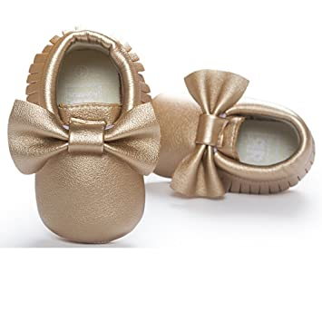 Romirus Baby Leather Bowknot Tassel Fringe Moccasin Shoes For Infant