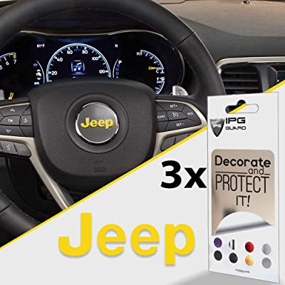 IPG for Jeep Steering Wheel Overlay Decal Vinyl Cover Set of 3 for Emblem Do it Yourself Stickers Set Personalize Your Jeep (Yellow): Clothing