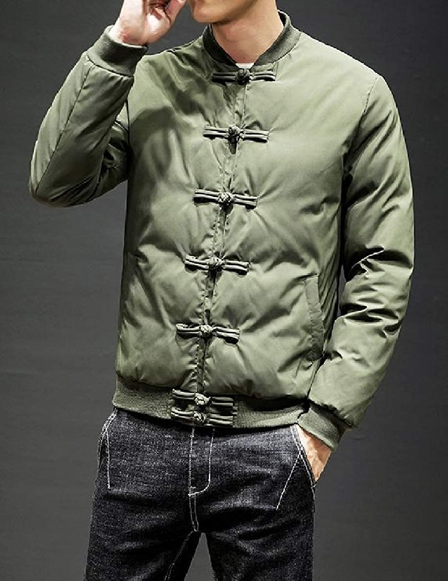 VividYou Mens Winter Retro Quilted Chinese Style Stand Collar Pea Coat Jacket Outwear