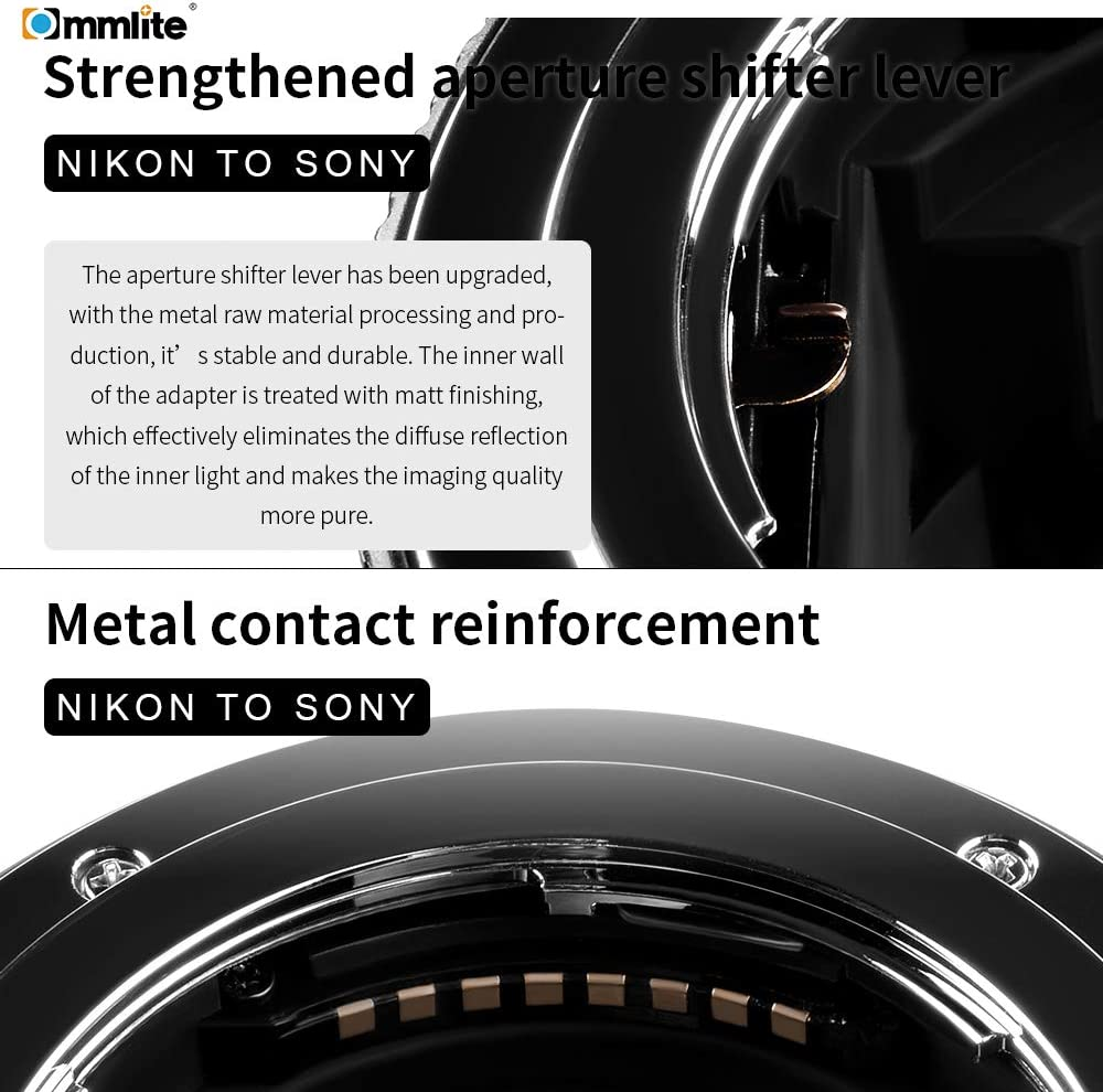 Commlite CM-ENF-E1 Pro Autofocus Elektronischer Objektivadapter f/ür Nikon F Mount Objektiv auf Sony E Mount A9 A6300 A6500 A7RII A7II Kameras
