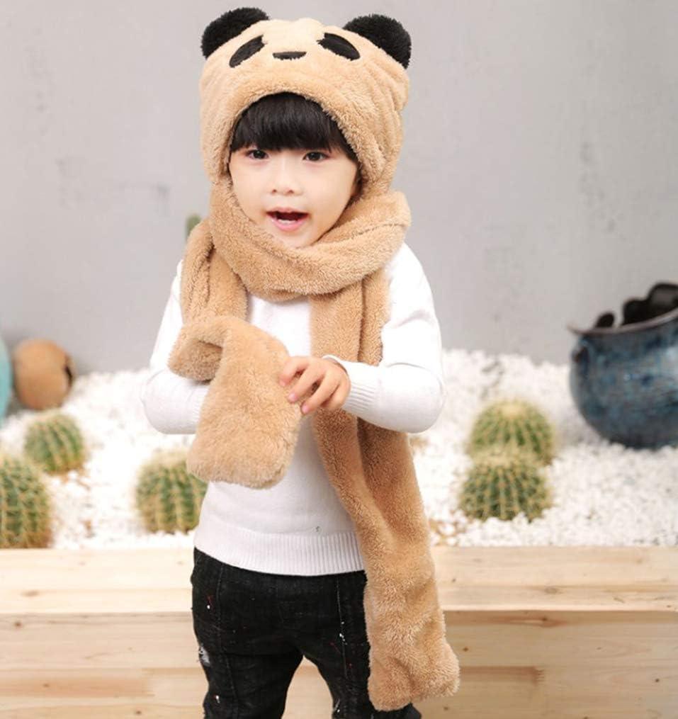 QCHOMEE Kids Baby Cartoon Winter Hats Winter Plush Warm Earflap Hood Beanie Hat Long Scarf Pocket Gloves Set Teens Girls 3 in 1 Warm Cap Costume Gift